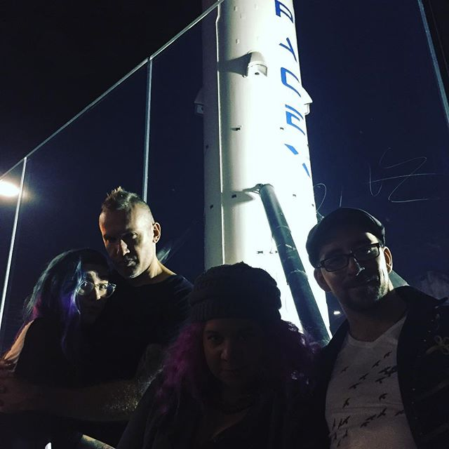 Someone filled this rocket with explosives, blew it into space, and then landed it again on an x.  Tonight we got a full tour of the Spacex facility thnx to @allanamato. Insane.